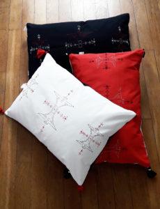 Berbera Design - housses coussins berbera rectangulaires- posées sur parquet - collection Atlas