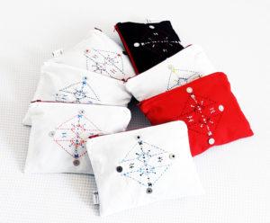Berbera Design- collection Atlas- pochettes tous coloris brodées
