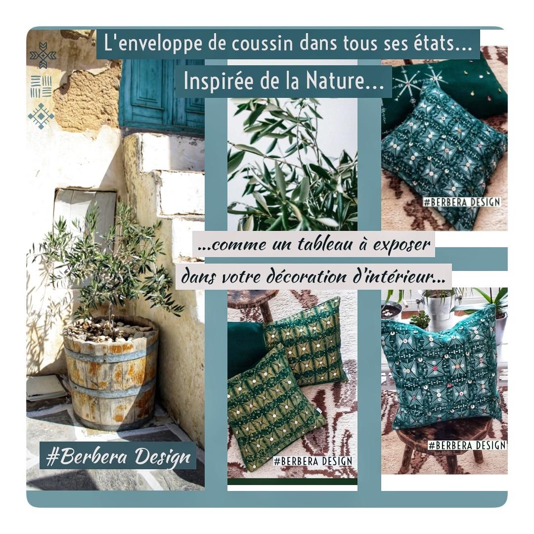 Berbera Design- Housses coussins inspirées de la nature - olivier
