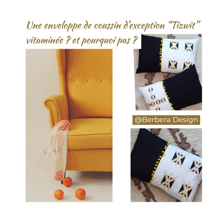 Berbera design- housse de coussin tizwit - avec fauteuil jaune - une déco vitaminée