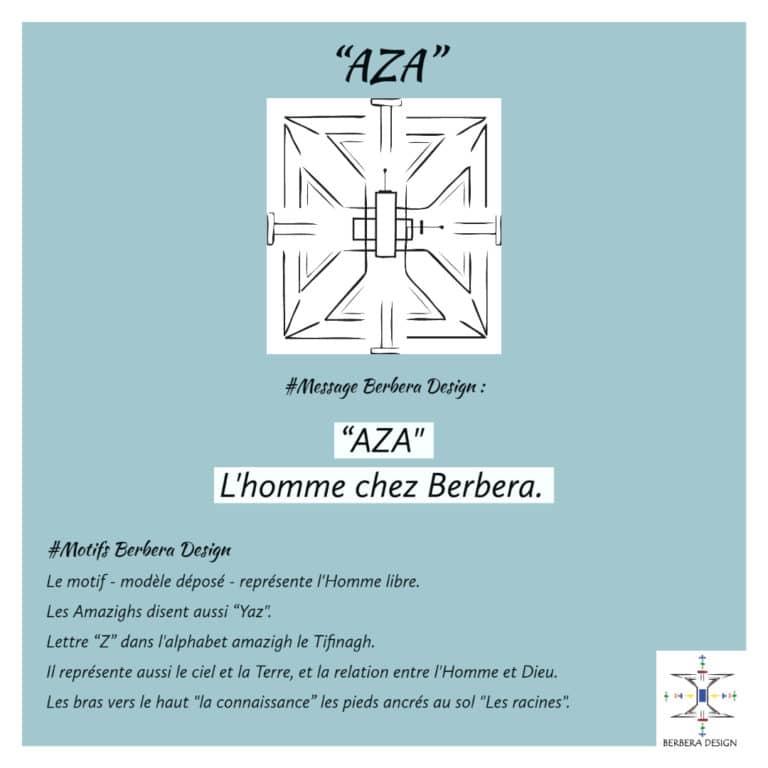 Motif Aza revisité de Berbera Design- symbolise l'homme en particulier et l'Homme l'humanité en générale