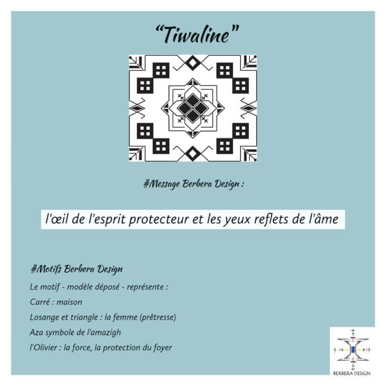 Motif Tiwaline de berbera design symbolise l'œil protecteur et le reflet de l'âme