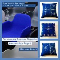 Berbera Design- collection Tin Hinan- chaise design bleu avec à coté coussins housses